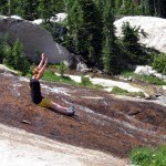Abby enjoying the natural granite water slide.